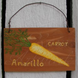 Original Primitive Folk Art Amarillo Carrot Sign Painting On Cedar