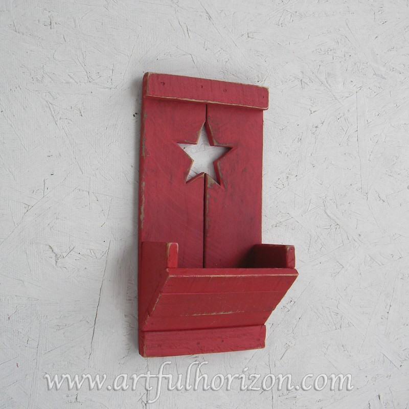 Farmhouse Country Chic Wood Star Wall Box Pocket Primitive Folk Art