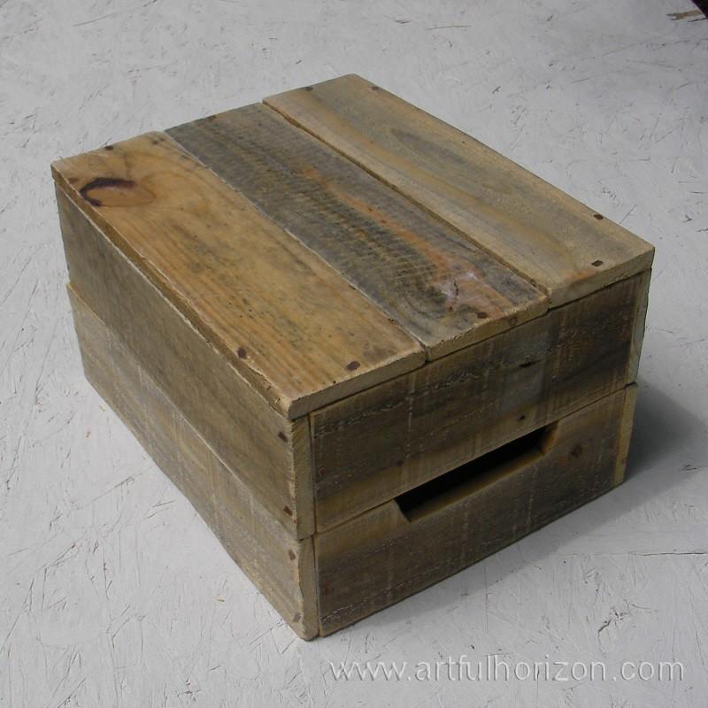 Natural Reclaimed Wood Crate Primitive Folk Art Rustic Farmhouse Decor - Reclaimed Wood Box WB Designs