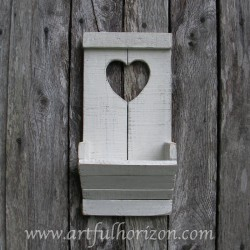 Primitive Folk Art Heart Wall Organizer Cottage Chic Heart White Wall Box Wood Pocket Country Cottage Chic Home Decor Shelf