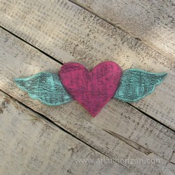 Heart With Wings Barn Wood Cutout Pink and Turquoise Primitive Folk Art Home Decor Winged Junk Gypsy Reclaimed Wood